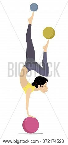 Pretty Young Woman Do Exercises With The Balls Illustration. Pretty Young Woman Standing Legs Up On
