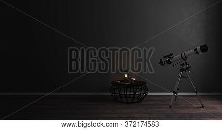Telescope Near Window In Modern Dark Room Interior Background, Mock Up, Astronomy Concept, 3D Render