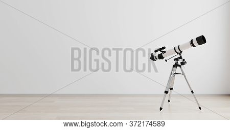 Telescope Standing In Bright Room Interior, Telescope With White Empty Wall, Mockup, 3D Render, Astr