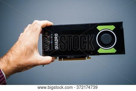 Paris, France - Sep 30, 2019: Pov Male Hand Holding New Professional Nvidia Quadro P4000 Using Pasca