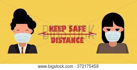 Masked People At A Distance. Poster Keep Safe Distance With Other People. Precautions For The Corona