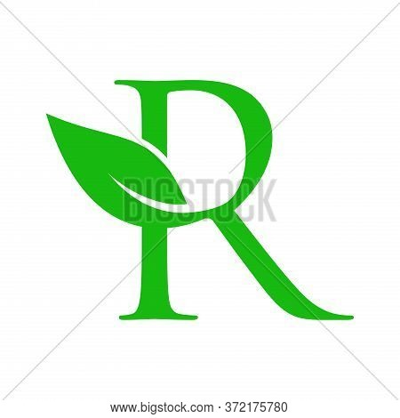 Simple Clean And Charming Logo Design Initial R Combining With Leaf.