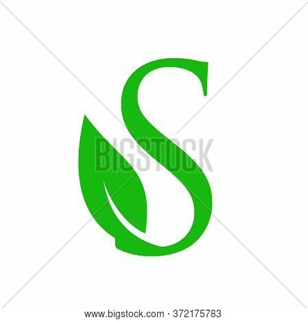 Simple Clean And Charming Logo Design Initial S Combining With Leaf.