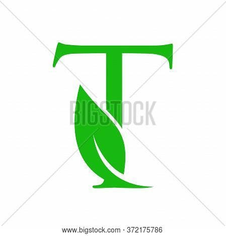 Simple Clean And Charming Logo Design Initial T Combining With Leaf.