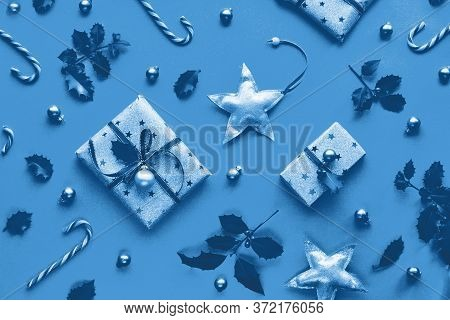 Monochrome Blue Color Xmas Background. Trendy Geometric Christmas Flat Lay On Paper Background With