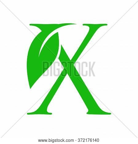 Simple Clean And Charming Logo Design Initial X Combining With Leaf.