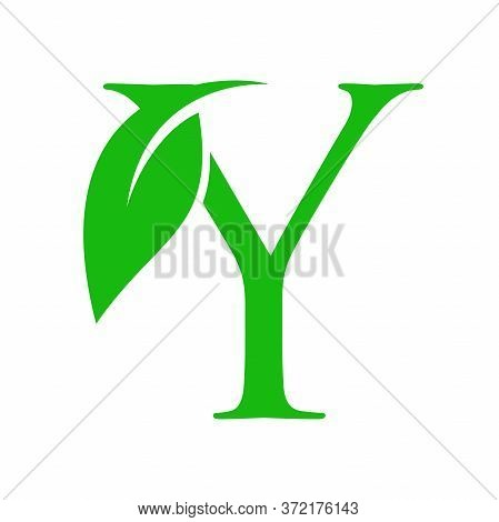Simple Clean And Charming Logo Design Initial Y Combining With Leaf.