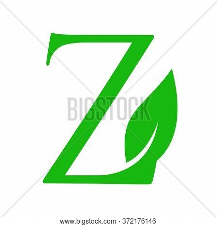 Simple Clean And Charming Logo Design Initial Z Combining With Leaf.
