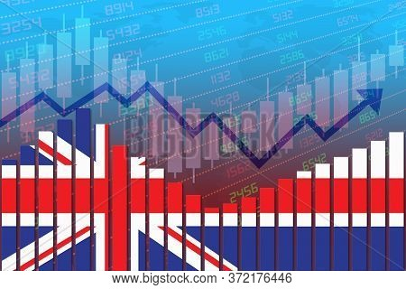 3d Rendering Of Flag Of Uk Or Britain On Bar Chart Concept Of Economic Recovery And Business Improvi