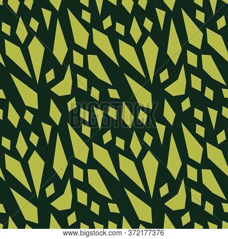 Abstract Pattern Design Olive Green Inspired In Sharp Fragments. Vector Pattern For Branding And Fas