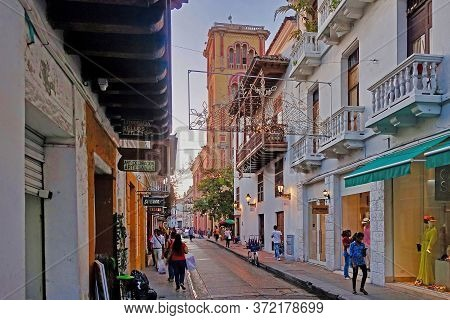 Cartagena, Colombia, 2018.12.13., In The Streets Of The Old City Of Cartagena