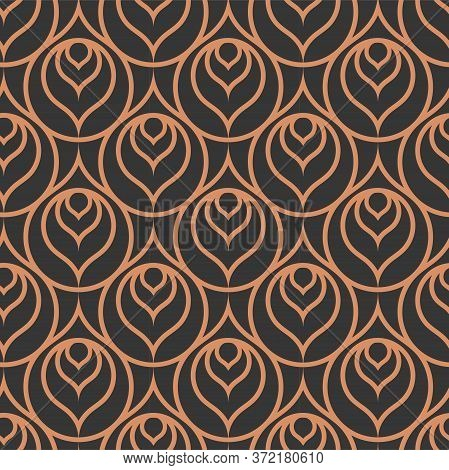 Repetitive Decorative Vector 1930s Repeat Pattern. Golden Minimal Graphic Twenties Shapes Texture. D