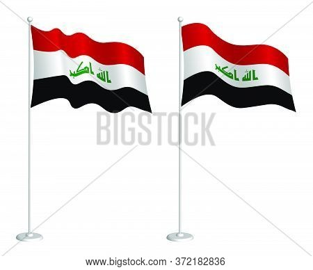 Flag Of Republic Of Iraq On Flagpole Waving In The Wind. Holiday Design Element. Checkpoint For Map