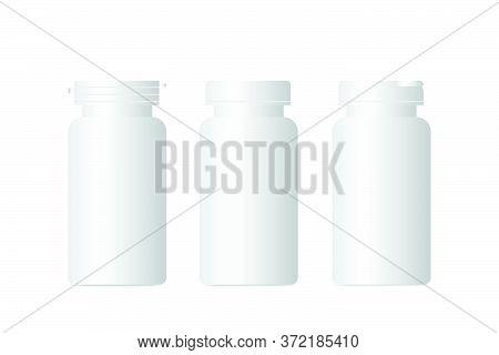 3d Mockup Plastic Bottle For Supplement Food Or Medicine Packaging, Vector Image