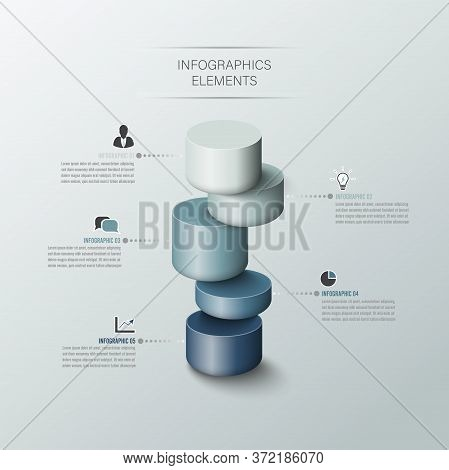 Modern Business Cylinder 3d Style Options Banner. Vector. Can Be Used For Workflow Layout, Diagram,