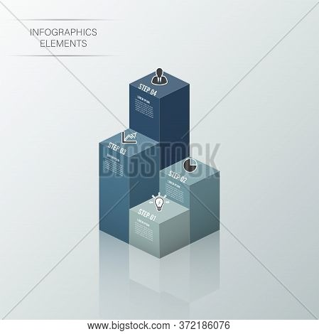 Modern Business Statistics 3d Style Options Banner. Vector. Can Be Used For Workflow Layout, Diagram