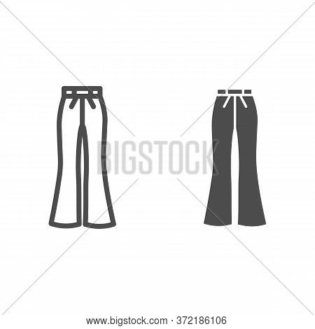 Flared Pants Line And Solid Icon, Clothes Concept, Retro Pants Sign On White Background, Flared Jean