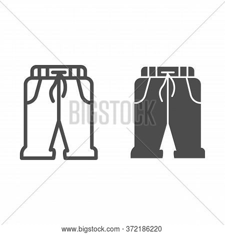 Short Sweatpants Line And Solid Icon, Sports Clothes Concept, Sport Shorts Sign On White Background,