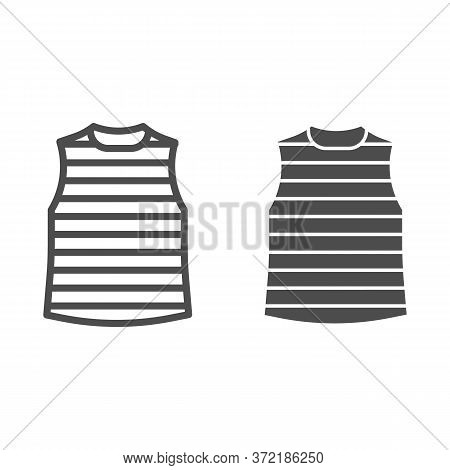 Stripped Vest Line And Solid Icon, Summer Clothes Concept, Stripped T-shirt Sign On White Background