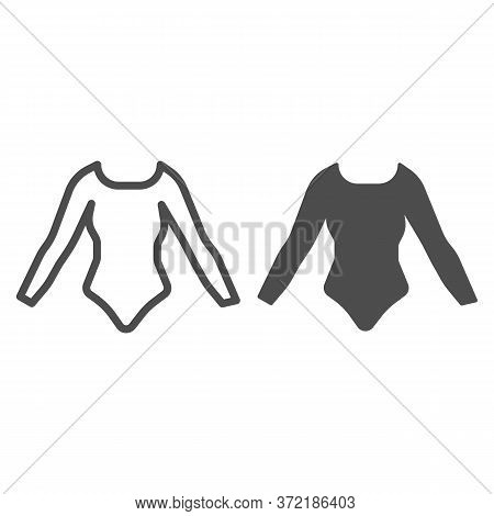 Swimsuit With Sleeves Line And Solid Icon, Summer Clothes Concept, Long Sleeve Body Sign On White Ba