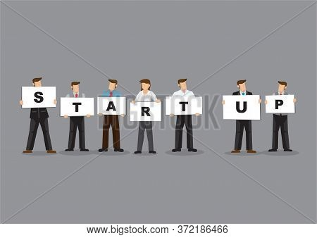 Illustration Of Business Man And Woman Holding White Board Cards Title Startup. Full Length On Grey