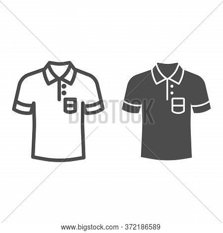 Polo Line And Solid Icon, Summer Clothes Concept, Unisex Shirt Sign On White Background, Casual T-sh