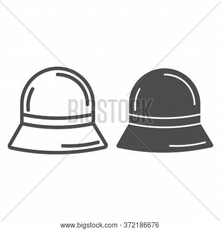 Panama Hat Line And Solid Icon, Summer Accessories Concept, Summer Children Cap Sign On White Backgr