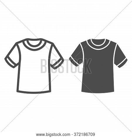 T-shirt Line And Solid Icon, Summer Clothes Concept, Unisex Shirt Sign On White Background, Casual T