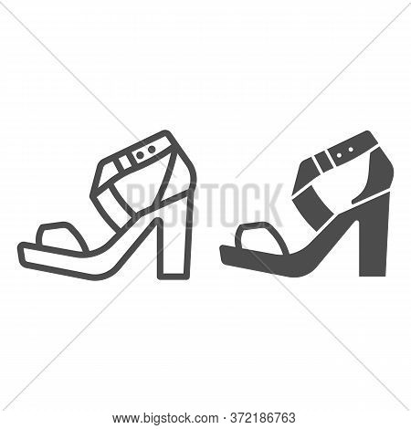 High Heeled Sandal Line And Solid Icon, Casual Shoe Concept, Women Shoes Sign On White Background, W