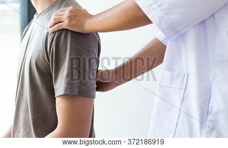 Professional therapists are stretching muscles, patients with abnormal muscular symptoms, physical r