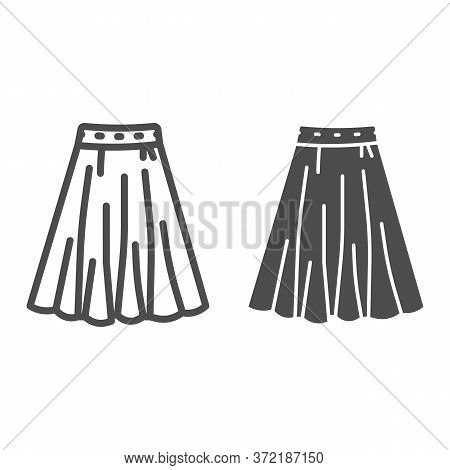 Skirt Line And Solid Icon, Clothes Concept, Long Elegant Women Skirt Icon On White Background In Out