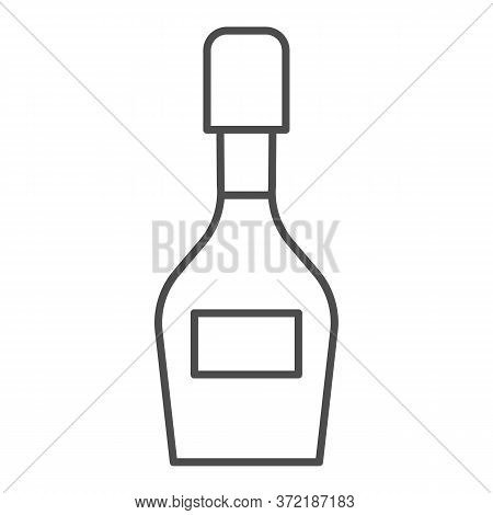Champagne Bottle Thin Line Icon, Alcohol Drinks Concept, Champagne Sign On White Background, Wine Bo