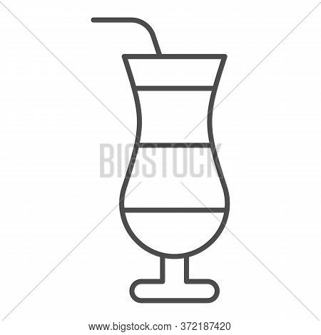 Cocktail Thin Line Icon, Drinks Concept, Cocktail In Hurricane Glass Sign On White Background, Summe