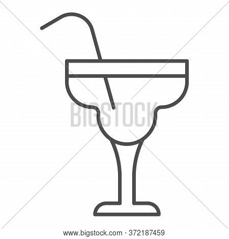 Glass With Margarita Cocktail Thin Line Icon, Alcohol Drinks Concept, Cocktail Sign On White Backgro