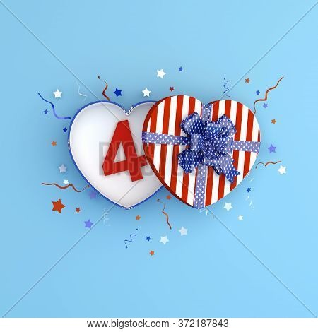 4th Of July, Happy Independence Day Of The Usa Greeting Card, Banner, Template, Flyer, Heart Shape G
