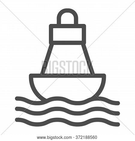 Buoy Line Icon, Nautical Concept, Sea Buoy Floating On Waves Sign On White Background, Nautical Dire