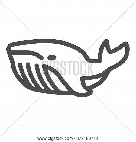 Whale Line Icon, Ocean Concept, Very Large Marine Mammal Sign On White Background, Orca Whale Icon I