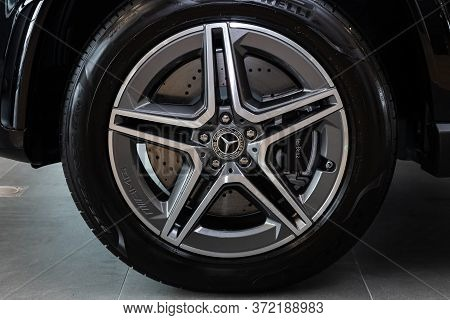 Novosibirsk/ Russia - April 28 2020: Mercedes Benz Gle-class, Car Wheel With Alloy Wheel And New Rub