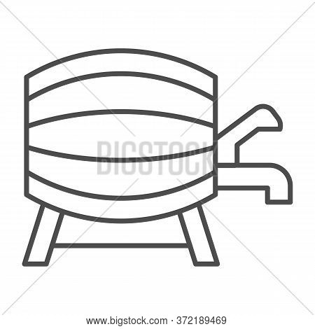 Beer Barrel With Faucet Thin Line Icon, Alcohol Drinks Concept, Wooden Wine Cask On Racks With Tap S