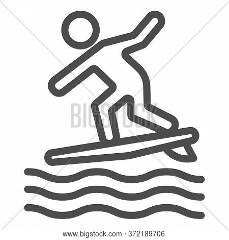 Surfing Line Icon, Summer Water Sport Concept, Surfer And Waves Sign On White Background, Man Surfin