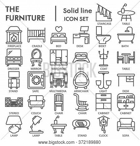 Furniture Line Icon Set, Home Decor Symbols Collection Or Sketches. Furniture Linear Style Signs For