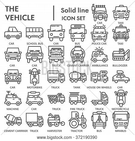 Vehicle Line Icon Set, Transportation Symbols Collection Or Sketches. Truck And Car Linear Style Sig