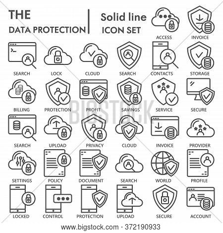 Data Protection Line Icon Set, Computer Security Symbols Collection Or Sketches. Technology Linear S