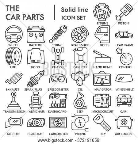 Car Parts Line Icon Set, Vehicle Part Symbols Collection Or Sketches. Car Service Maintenance Linear
