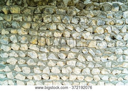 Decorative White And Gray Stones, Round Stones, Stones Or Gravel For Construction, Seamless Texture.