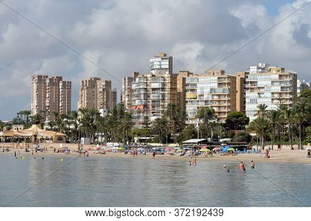 Orihuela, Costa Blanca, Spain - September 20, 2018:playa De Campoamor Beach In Orihuela Costa. Spain