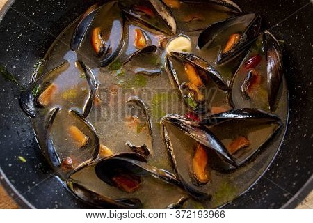 Typical Mussel Soup Called Peppered Mussels Or Impepata Di Cozze