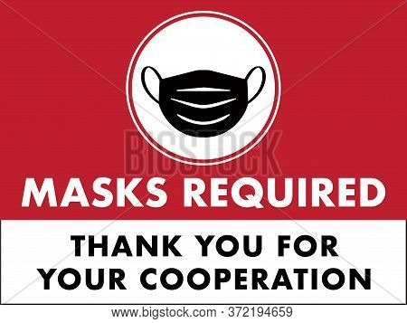 Masks Required Sign | Horizontal Face Mask Flyer | Coronavirus Guidelines | Public Safety Rules | Wi