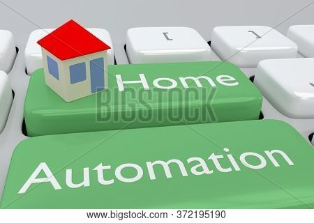 3d Illustration Of Computer Keyboard With The Script Home Automation On Two Adjacent Pale Green Butt