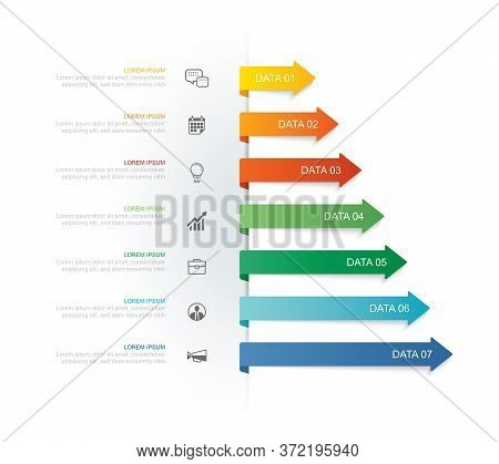 7 Data Infographics Tab Paper Index And Arrow Template. Vector Illustration Abstract Background. Can